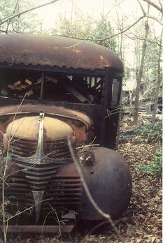 Rusted remains of a 1940 Dodge bus