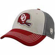 Top of the World Oklahoma Sooners Barry Sitzer Retro Helmet Guru One-Fit Hat - Cream/Crimson/Gray