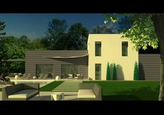Villa contemporaine #architecture #3d #pool #house #garden #brignais #france #design #colibristudio