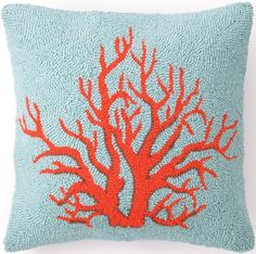 "16"" Red Coral Hook Pillow: Beach House Decor, Coastal Decor, Nautical Decor, Coastal Living Boutique, Tropical Decor Shabby Chic Pink, Cool Ideas, Coral Pillows, Throw Pillows, Decor Pillows, Joss And Main, Magenta, Red Coral, Chartreuse Decor"