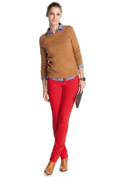 Red jeans and brown pullover