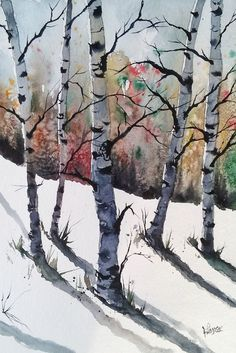 ORIGINAL painting watercolor painting WATERCOLOR Painting Birch Trees #Contemporary