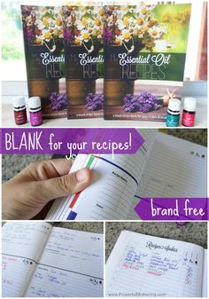 a blank recipe book to record all your recipes and records when you use essential oils for your family