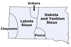 Map of South Dakota tribes in the past