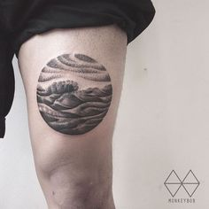 Wave Tattoo on Thigh by Won