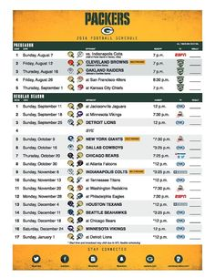 The Packers 2016 Schedule