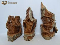 Small whimsical houses in cottonwood bark, pt 3 of 3