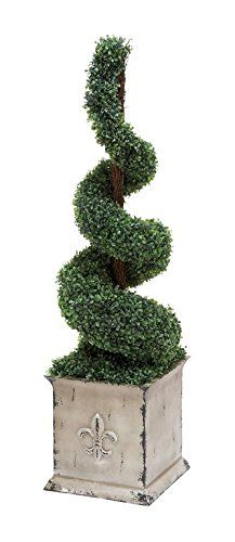 """awesome  It is easy to maintain and care for, ensuring less trouble Sporting a rich green shade, the plant includes boxwood foliage that can last a long time It comes with a dimension of 52"""" h x 12"""" w   https://www.silkyflowerstore.com/product/deco-79-polyester-spiral-shaped-topiary-boxwood-natural-green/"""