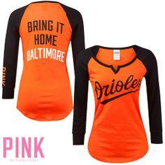 Baltimore Orioles Victoria's Secret PINK® Long Sleeve Split Neck Raglan Crew - MLB.com Shop