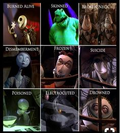 Funny pictures about The Nightmare Before Christmas: How They Died. Oh, and cool pics about The Nightmare Before Christmas: How They Died. Also, The Nightmare Before Christmas: How They Died photos. Disney Pixar, Disney Facts, Disney Memes, Disney And Dreamworks, Nightmare Before Christmas Characters, Lock Nightmare Before Christmas, Childhood Ruined, Right In The Childhood, Cartoons