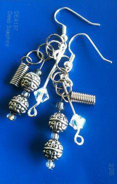 Metal Spiral Crystal Dangle Pierced Earrings by WithMyJeans, $8.00