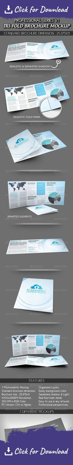 Vertical A4 or A5 Trifold Mockups #design Download http - folded brochure