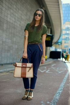 aca2c21f222 Navy blue trousers paired with a slightly over sized green tee Her Style