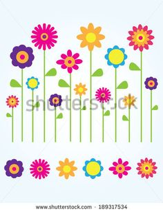 Colourful Field of Spring lowers - Vector