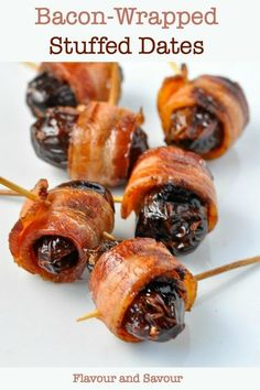 How to make bacon wrapped stuffed dates. (Or, a date per bacon wrap.) Cheese stuffed dates and avoid messy filling and raw bacon! Bacon Appetizers, Appetizers For Party, Appetizer Recipes, Cheese Recipes, Snack Recipes, Bacon Dates, Bacon Wrapped Dates, Clean Eating Recipes, Clean Eating Snacks
