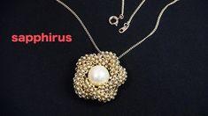 【ビーズステッチ】丸小ビーズとパールで作るフラワーペンダントの作り方☆ How to make a flower pendant. Beaded Chocker, Beaded Necklace, Bead Jewellery, Jewelery, Diy Beaded Rings, Necklace Tutorial, Beaded Jewelry Patterns, Seed Bead Earrings, Beading Tutorials