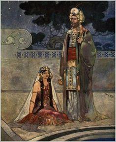 Rene Bull - Illustrations from Rubaiyat of Omar Khayyam 1913 Children's Book Illustration, Illustrations, Rubaiyat Of Omar Khayyam, Matou, Fairytale Art, Arabian Nights, Funny Cartoons, Conte, Amazing Art