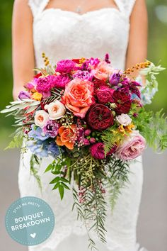 Photography : Calli B Photography | Wedding Dress : Hilde Heim | Floral Design : Mondo Floral Designs Read More on SMP: http://www.stylemepretty.com/australia-weddings/queensland-au/sunshine-coast/2015/08/25/bouquet-breakdown-colorful-bohemian-queensland-wedding/