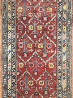 Amazing Azerbaijani - 1890s Antique Caucasian Runner - Tribal Rug 3.10 x 12 ft. #Persian