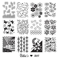 Lilic's stamping plate A07 full nail small tetris moon cloud star flower chili eye butterfly swirl heart geometric 80's mask dots