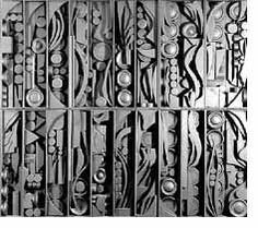 This might be excessive yet it would be interesting to see a Louise Nevelson style ceiling. http://en.wikipedia.org/wiki/Louise_Nevelson