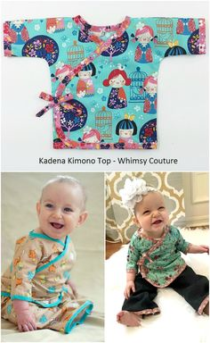 Kimono Top Sewing Pattern for Babies -- - PDF Instant by Whimsy Couture Sewing Baby Clothes, Baby Clothes Patterns, Cute Baby Clothes, Baby Patterns, Doll Clothes, Sewing Patterns, Baby Kimono, Kimono Shirt, Baby Dress