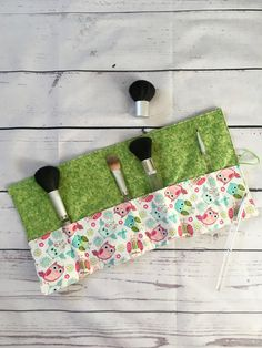 Cosmetics storage wrap, make up roll up, make up storage, make up to go, make up travel bag, Ready to Ship, Owl Gift by SewSisterStudio on Etsy