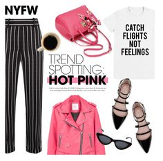 """NYFW Trend Spotting: Hot Pink"" by helenevlacho ❤ liked on Polyvore featuring Haider Ackermann, MANGO, Zara, Le Specs, contestentry and NYFWHotPink"