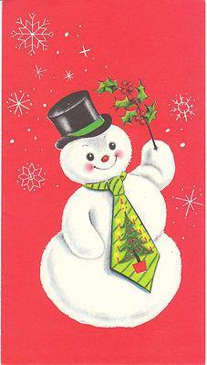 Vintage Christmas Card Snowman in Tie Snow Man Mid Century Unused with Envelope | eBay