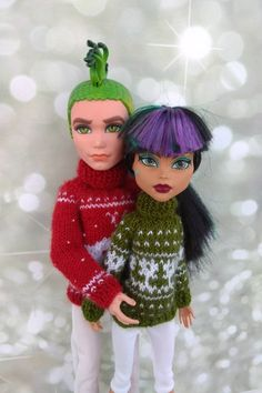 Items similar to Christmas sweaters Matching clothes for Monster High dolls. Hand-knitted dark red sweater for a MH boy and olive green sweater for a MH girl on Etsy Monster High Boys, Monster High Doll Clothes, Matching Clothes, Matching Outfits, Boy Doll, Girl Dolls, Olive Green Sweater, Custom Dolls, Red Sweaters