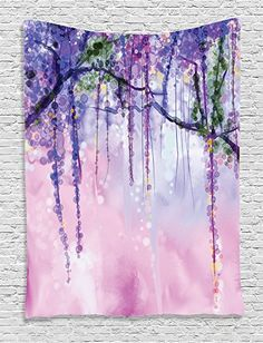 Amazon.com: Ambesonne Watercolor Flower Decor Collection, Wisteria Flowers Tree Blurred Design, Bedroom Living Kids Girls Boys Room Dorm Accessories Wall Hanging Tapestry, Navy Lilac Aubergine Blue Violet: Home & Kitchen