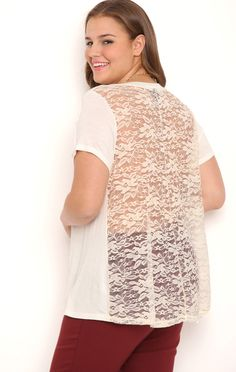 Deb Shops Plus Size Short Sleeve Knit Babydoll Top with Lace Back $10.00