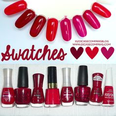 Dicas e Compras: Swatches de esmaltes vermelhos e pinks, com glitter e sem!