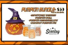 Scentsy pumpkin bundle ..includes 1 warmer and 3 packs of wax ..visit ..www.scentsbysarav.scentsy.ca