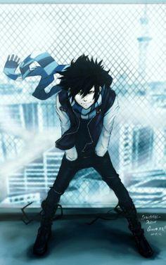 ✮ ANIME ART ✮ anime boy. . .scarf. . .jacket. . .boots. . .cityscape. . .rooftops. . .badass. . .cute. . .kawaii