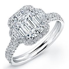 3.42ct Emerald Cut Diamond Micropavé Engagement Ring maybe more affordable with just center design diamonds with sides and halo