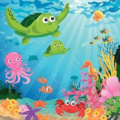 Image result for colorful drawing of undersea with lobster