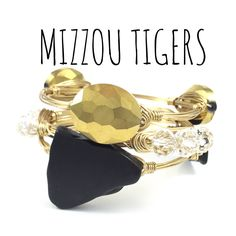 Missouri Tigers Game Day Wire Wrapped Bangles Set, Courtney And Courtnie, Slab, Crystal Bracelet, Handmade Jewelry by CourtneyAndCourtnie on Etsy (null)