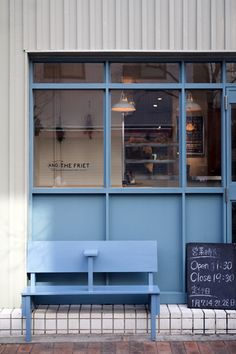 Home Decoration Online Stores Referral: 4158265794 Cafe Interior, Interior Exterior, Interior Design, Exterior Signage, Coffee Shop Design, Cafe Design, Mini Cafe, Retail Facade, Blue Cafe