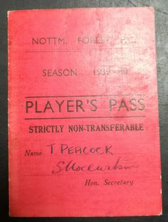 Tom Peacock Player's Pass 1939/40 season