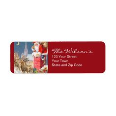 Vintage Santa Christmas Return Address Labels