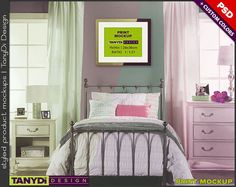 Teen Bedroom Interior PSD Mockup KR1 11x14 Portrait &