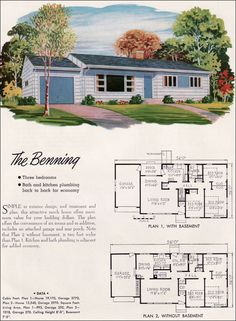 1952 National Plan Service - Benning  The basic ranch house with attached garage, front facing living room with large picture window (narrow operable side windows common in 1950s) and small high windows for the bedrooms.