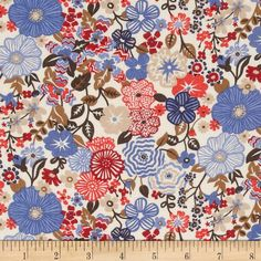 Liberty of London Tana Lawn Beth's Flower Brown/Red/Tangerine from @fabricdotcom  From the world famous Liberty Of London, this exquisite cotton lawn fabric is finely woven, light weight and ultra soft. This gorgeous fabric is oh so perfect for flirty blouses, dresses, lingerie, tunics, tops and more. Colors include blue, red, poppy, brown and tan.