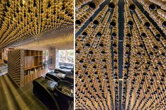 Ceiling Design Ideas - This Hair Salon Has A Ceiling Covered In Wood Beads