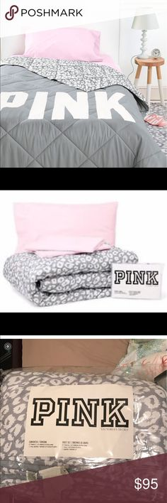 Victoriau0027s Secret Accessories. New VS Pink Cheetah Bed Set Twin XL Included  Comforter, Fitted Sheet, Flat Sheet