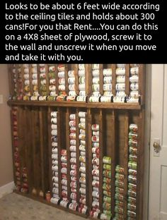 Want to shop those canned food sales but can't store them easily? Build a canned food dispenser on a pantry wall for easy storage. always be able to see what you have before you buy more. Omg I love how organized this is! Canned Food Storage, Pantry Storage, Kitchen Organization, Organization Hacks, Kitchen Storage, Basement Storage, Garage Storage, Bedroom Storage, Can Storage