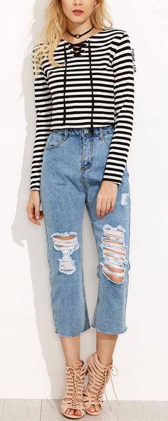 Contrast Stripe Lace Up Crop T-shirt