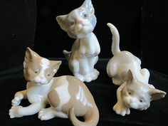 """Set of 3 Lladro Cats, """"Feed Me"""" 5113,""""Pet Me"""" 5114"""