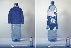 Zomer en winter reclame voor nieuwe flessen Spa-water.     Door : Marieke Fremaut